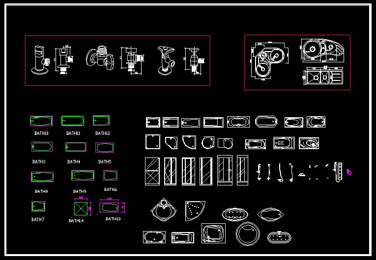 Cad library autocad blocks and drawings download for Bathroom cad design