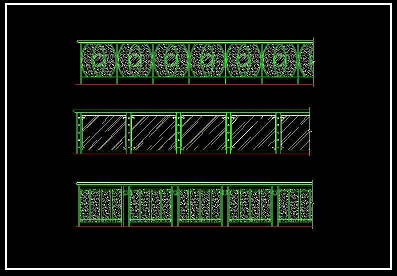 Wrought Iron Railing Fence Design V2】 Cad Drawings