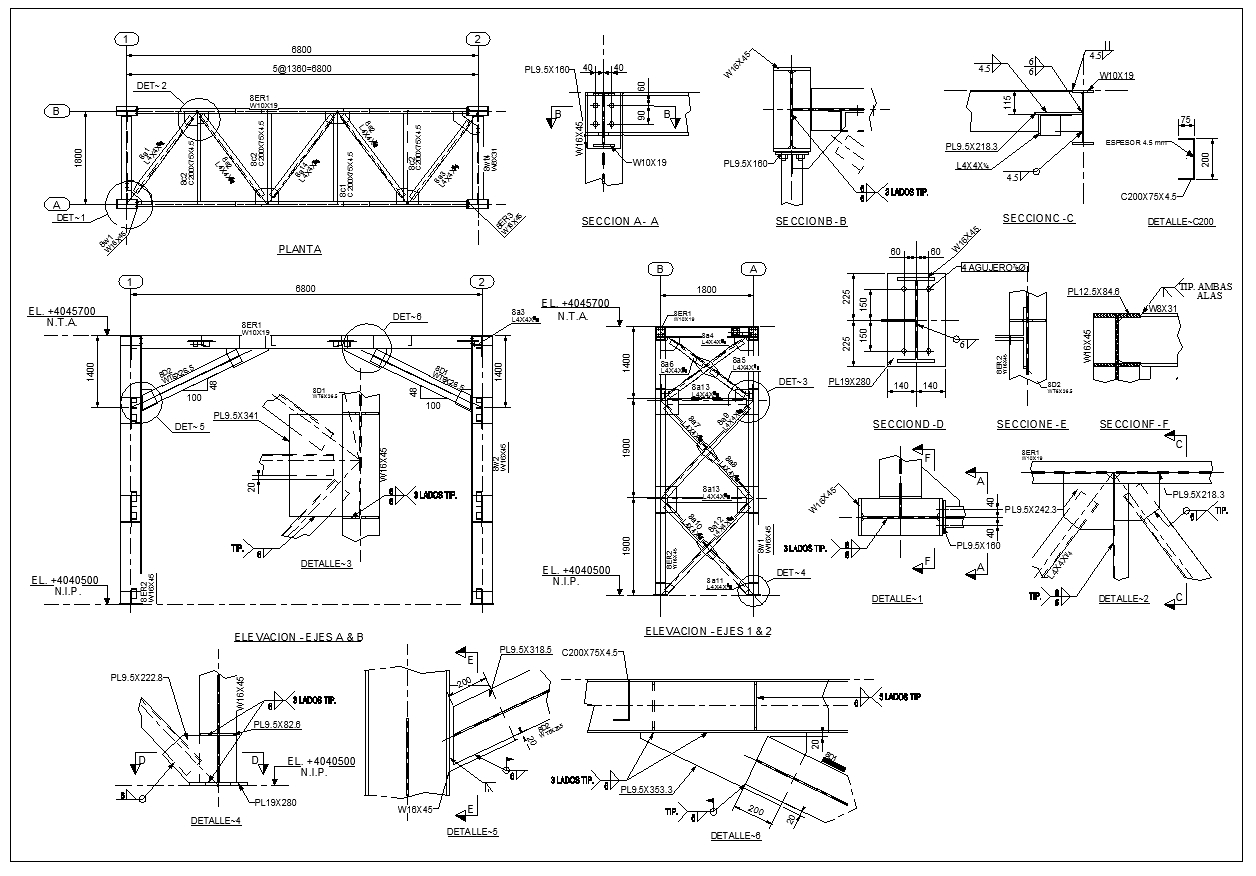 Steel structure details v3 cad files dwg files plans for Steel building plans drawings