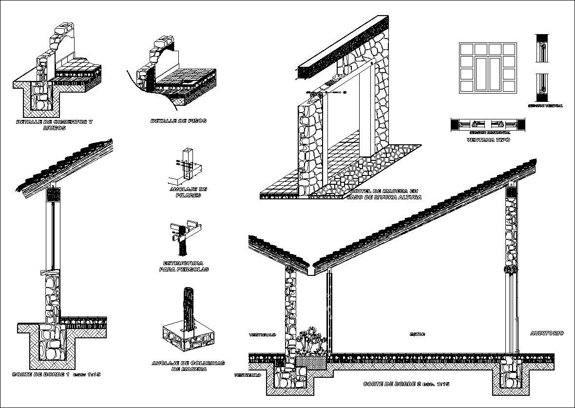 Wood Elevation : Wood constructure details】★ cad files dwg plans