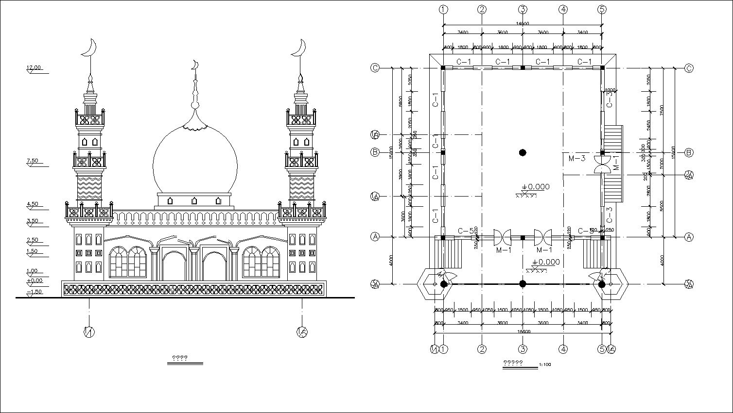 Elevation Plan Details : Mosque drawings】★ cad files dwg plans and details